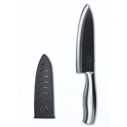 Casa Neuhaus Black Series Ceramic Knife - 7 Inch Chef'S Knife - Black Ceramic Blade & Stainless Steel Handle - Includes Knife Sheath And Black Series Gift Box
