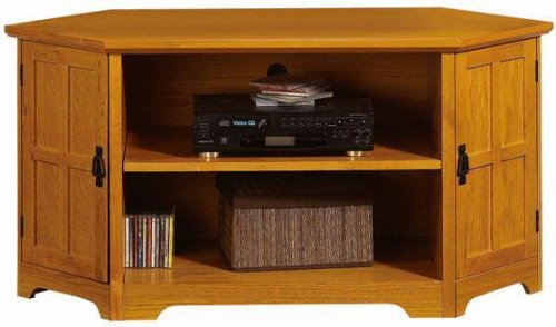 Image of Craftsman Corner Wood door Wide screen Tv Stand With Open Storage (B001XZXJCC)