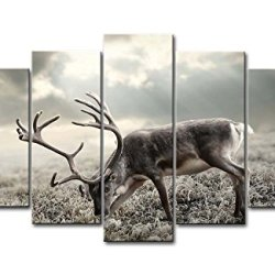 Black And White 5 Panel Wall Art Painting Big Deer Eating Grass Pictures Prints On Canvas Animal The Picture Decor Oil For Home Modern Decoration Print
