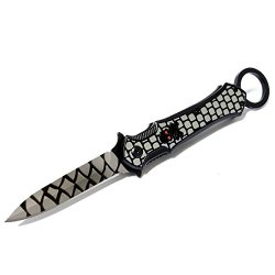 "New 9"" Black And Grey Folding Spring Assisted Throwing Knife With Belt Clip"