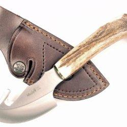 Ruko 3-1/8-Inch Blade Gut Hook Skinning Knife With Genuine Deer Horn Crown Handle And Leather Sheath
