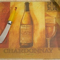Murano Collection White Wine Design Cheese Board And Knife Set, 6