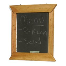 J.K. Adams 14-Inch-By-12-Inch Hanging Slate Chalk Board With Maple Wood Border, Chalk Included