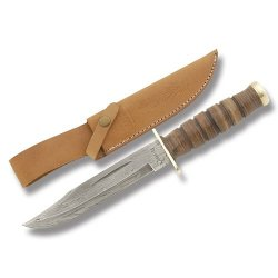 Marble'S Damascus Fighting Knife With Stacked Leather Handle