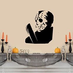 "Jason Voorhees (Friday The 13Th) With Macehete Halloween Wall Decal- Black (19""W X 22""H)"