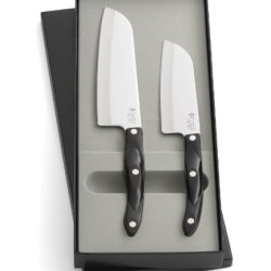 "Cutco Model 1850 Santoku Set In Gift Box...........Two High-Carbon Stainless Knives: 7"" Santoku And 5"" Petite Santoku.................With 5.7"" Classic Brown Handles (Sometimes Called Black)......... Inside Cutco Gift Box."