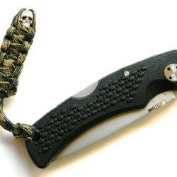 1 Woodland Camo (Bdu) Paracord Mummy Knife Lanyard With Skull Alloy Bead