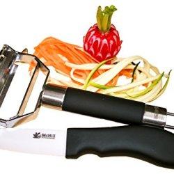 Julienne Peeler & Paring Knife Gift Set - Multi 4-In-1 Stainless Steel Potato Peeler - Vegetable Peeler - Kitchen Utensil - Plus Bonus Ceramic Knife