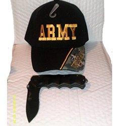 "U.S. Army Heavy Duty ""American Hero"" Folding Knife & Free Army Veteran Cap"