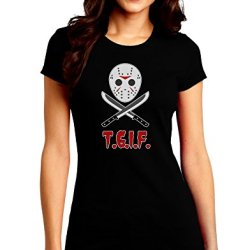 Scary Mask With Machete - Tgif Juniors Crew Dark T-Shirt - Black - Medium