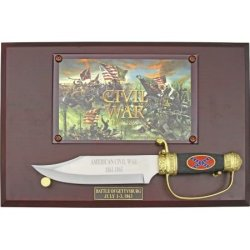 China Made 21089701 Confederate Flag Civil War Bowie Fixed Blade Knife With Black Textured Metal Handles & Plaque