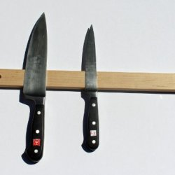 "Hand Crafted Hard Wood Magnetic Knife Rack, 18"" Maple, Wall Mounted"