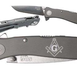 Mason Masonic Square Compass Custom Engraved Sog Twitch Ii Twi-8 Assisted Folding Pocket Knife By Ndz Performance