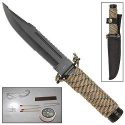Mini Digital Camo Paracord Outdoor Survival Serrated Knife