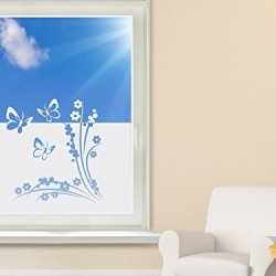 Privacy Film / Window Tattoo / Window Sticker/ For Children'S Room/ With Butterfly And Flower Design - 90X57Cm