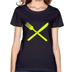 Wyy Women'S Fork Knife T Shirt Xx-Large Black