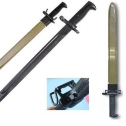 """M1 Garand Rifle U.S. Military Wwii Reproduction 1942 M1942 Long 22"""" Knife Bayonet 16"""" Steel Blade With M3 Scabbard"""