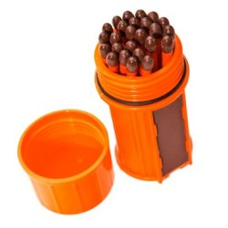 Uco Stormproof Match Kit With Waterproof Case, 25 Stormproof Matches And 3 Strikers - Orange