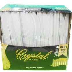 Crystalware Plastic Knives Medium Weight Packed 400/Box, White