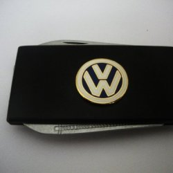 Volkswagen Black Stainless Steel Money Clip With Knife & Nailfile In Body Of Clip
