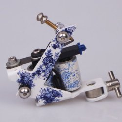 Gc Blue And White Porcelain Style Iron Frame Tattoo Gun Gucy122