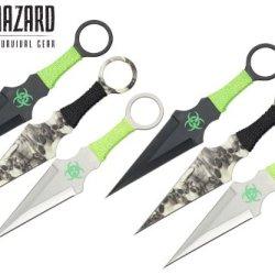 9 Inch 6Pcs Set Zombie Throwing Knife Biohazard A8033-6-Astd