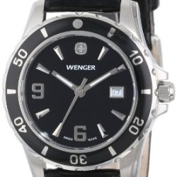 Wenger Women'S 70365 Sport Black Dial Black Leather Watch