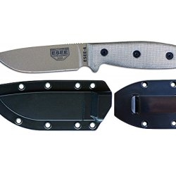 Esee-4P-Mb-De Plain Edge Dark Earth Coated Blade With Tan Canvas Micarta Handles With Black Molle Back Molded Sheath