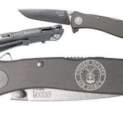 Usaf Air Force Round Logo Custom Engraved Sog Twitch Ii Twi-8 Assisted Folding Pocket Knife By Ndz Performance