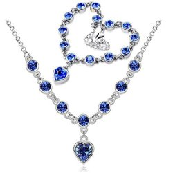 Chariot Trading - Fashion 2014 New Heart Rhinestone Austrian Crystal Necklace Bracelets Set ( Color : Silver Treasure Blue )