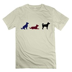 Mens Three Dogs T Shirts - Nice Custom Natural T Shirt
