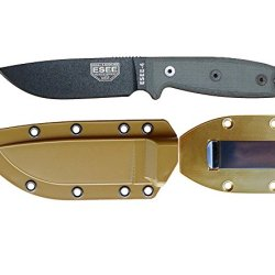 Esee Knives Model 4 Plain Edge Fixed Blade Knife (Black) With Coyote Brown Molded Sheath & Belt Clip Plate