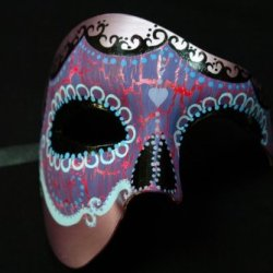 Purple Half Face Mexican Sugar Skull Hand-Painted Paper Mache Mask
