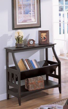 Image of Black Entry Console Sofa Table with Magazine Book Rack Shelf (VF_AZ00-11688x19670)