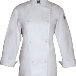 Chef Revival Lj027 Poly Cotton Ladies Knife And Steel Long Sleeve Jacket With White Chef Logo Button, 3X-Large, White