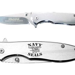 Us Navy Seals Logo Text Engraved Mirror Finish Tac-Force Tf-573C Speedster Executive Model Folding Pocket Knife By Ndz Performance