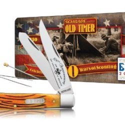 Schrade 96Brbsat Old Timer Bearhead Trapper Knife With 100Th Aniversary Boy Scouts Of America Collector'S Tin