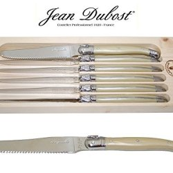 """French Laguiole Dubost - Pearl - 6 Round Tip Table Dinner Knives - 9""""/23Cm - Also Used As Butter Knife/Spreader (Serrated Wavy Edge - Original Genuine Laguiole - Quality Family White Color Flatware/Cutlery Setting For 6 People - With Certificate Of Authen"""