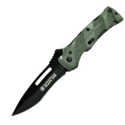 Smith & Wesson Swblop2G Black Ops. 2 Assisted Open Knife, Coated Stainless Steel Blade, Black Blade Green Handle