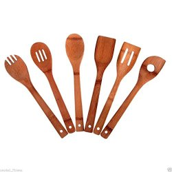 Yes4All 6 Piece Kitchen Tools Wooden Ware Utensils Set Collection