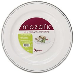Mozaik Round Silver Decorated Plates, 8-Count (Pack Of 8)