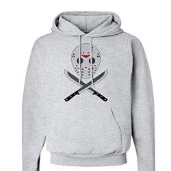 Scary Mask With Machete - Halloween Hoodie Sweatshirt - Ash Gray - Large