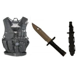 Ultimate Arms Gear Stealth Black Lightweight Edition Tactical Scenario Military-Hunting Assault Vest W/ Right Handed Quick Draw Pistol Holster + Stealth Black Stainless Steel Special Forces Series M9 M-9 Military Sawback Survival Blade Bayonet Knife With