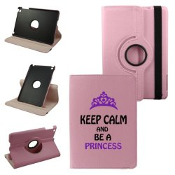 Keep Calm And Be Princess Mini Ipad Cover Synthetic Leather Rotating Ipad Mini Case (Pink): 360 Degrees Multi-Angle Vertical And Horizontal Stand With Strap- Lifetime Warranty