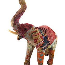 Vintage Sari Fabric Covered Paper Mache Elephant Sculpture 28 In.