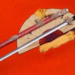 Longquan Sword/Damascus Steel Blade/Red Pearl Skin Scabbard/Brass Fittings