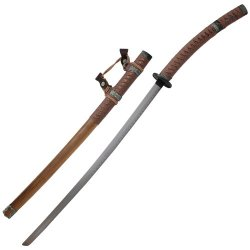 Antiquated Traditional Japanese Jin Tachi Sword Ornate Natural Wood Finish