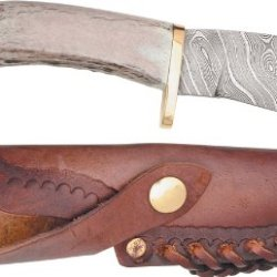 Silver Stag Knives 35 Twist Hunter Damascus Fixed Blade Knife With Crown Stag Handle
