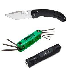 Benchmade Knife Mini Onslaught Combo Edge Folding Knife (Black) Bundle With Keychain Flashlight And Gorillagrip