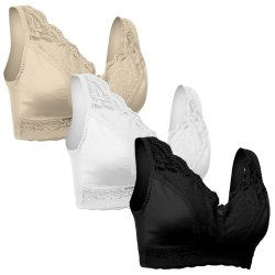 Set Of 3 Rhonda Shear Bras - Black White And Nude-Medium
